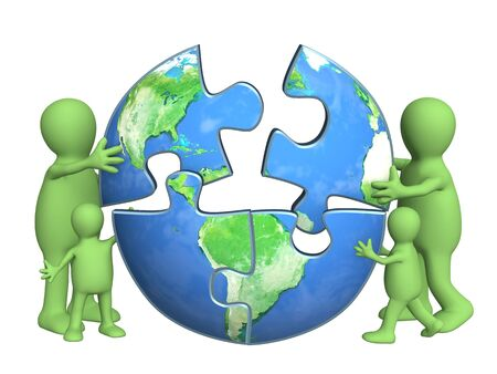 puzzle globe: Conceptual image - protection of an environment Stock Photo