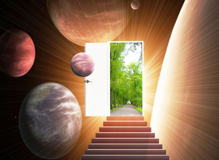 Door open in the alien world Stock Photo - 5910720