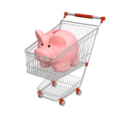 making a save: Piggy bank in shopping cart Stock Photo