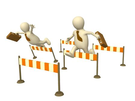 fiasco: 3d businessmans - puppets, jumping through a barriers