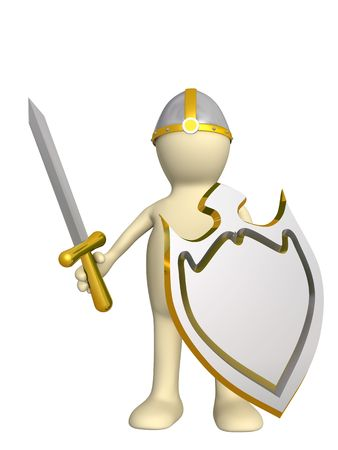 Ritter - Puppe in einer Rüstung, mit einem Board. Over white
