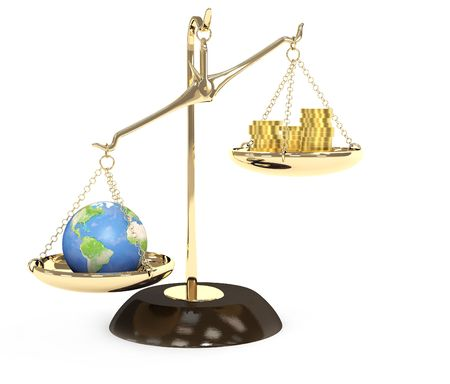 disharmony: Concept - Earth and money on measurement scales