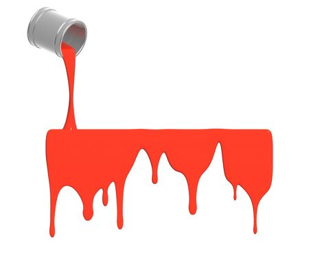 descriptive colour: Red paint pour out from bucket