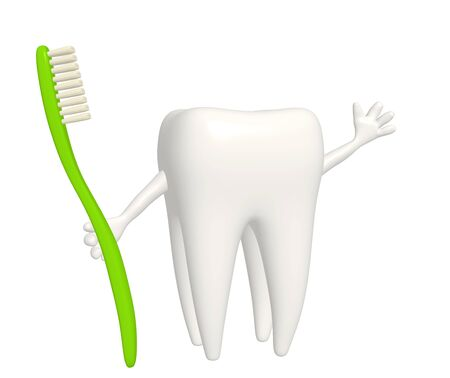 morning routine: Tooth with toothbrush - isolated over white