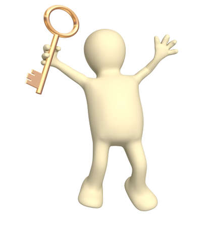 Puppet, holding in hand a gold key photo