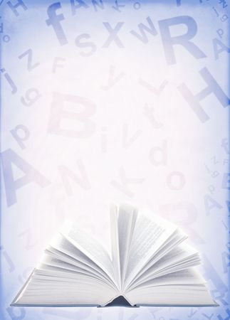 Collage - grunge background with book and alphabet  photo