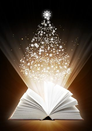 Christmas fairy-tale. Vertical background with magic book photo