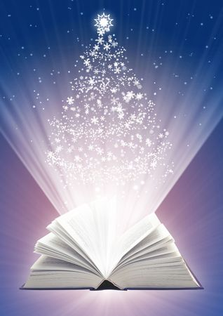 new books: Christmas fairy-tale. Vertical background with magic book Stock Photo