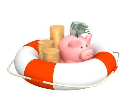 bankroll: Conceptual image - help at financial crisis
