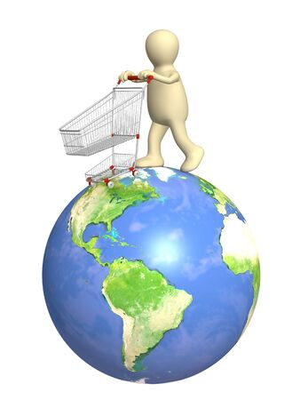 Global shopping - 3d puppet, going for purchases Stock Photo - 6044081