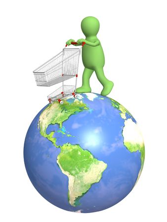 Global shopping - 3d puppet, going for purchases Stock Photo - 6044084