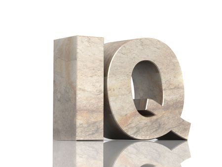 Stone 3d  letters I and Q. Object over white