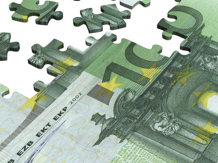 collected: Collected puzzle with the image of euro Stock Photo