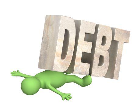 enslave: Conceptual image - hostage of the debt