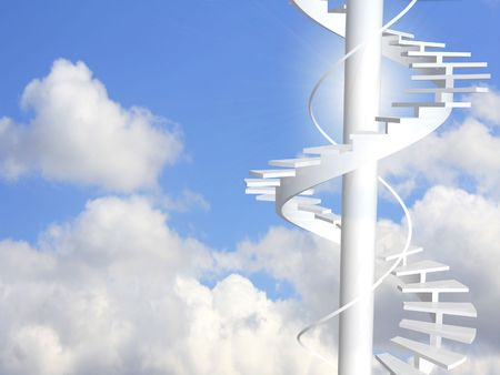 spiral stairway: Conceptual image - ladder to paradise Stock Photo