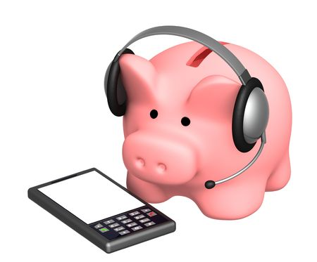 Financial support - piggy bank and phone Stock Photo - 6071321
