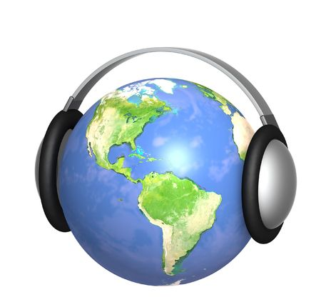 Earth with headphone - isolated over white