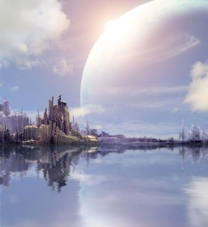 Collage - landscape in fantasy planet photo