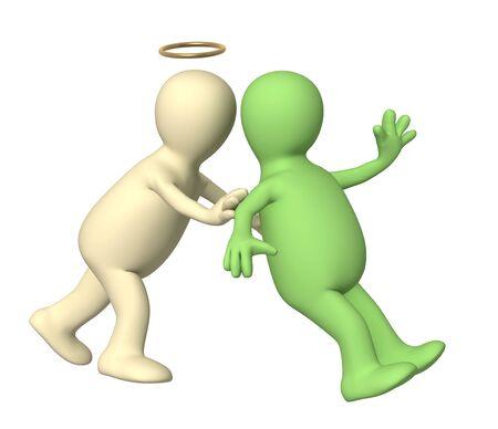 hesitating: Angel, pushing the person. Over white Stock Photo