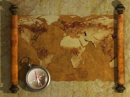 Compass and antique map - 3d photo