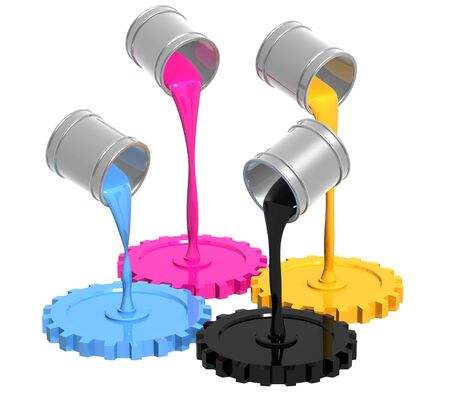 offset printing: Conceptual image - palette CMYK. Objects over white Stock Photo