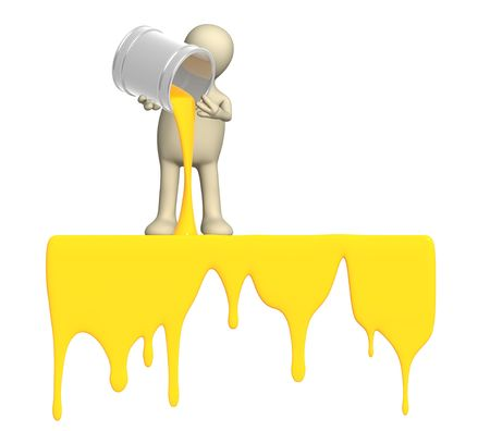 paint drop: Puppet, pouring a paint from buckets