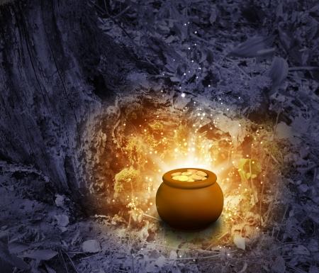 Schatz - Topf, gefüllt mit gold-Münzen