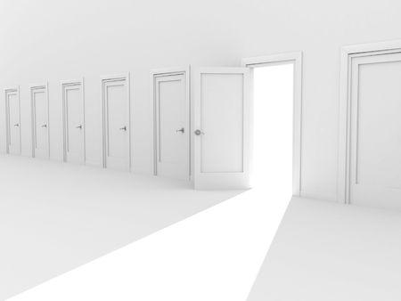 Open door in a row of the closed doors Stock Photo - 6237673