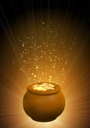 Background - pot, filled with gold coins Stock Photo - 6237667