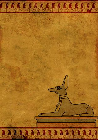 Background with Egyptian god Anubis image. Object over white photo