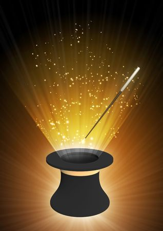 Vertical background of brown color with magic top hat Stock Photo - 6237691