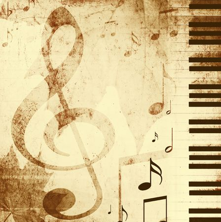 Background in retro - style, with musical symbols photo