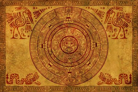 mayan prophecy: Maya calendar on ancient parchment Stock Photo