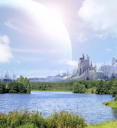 futuristic nature: Collage - landscape in fantasy planet