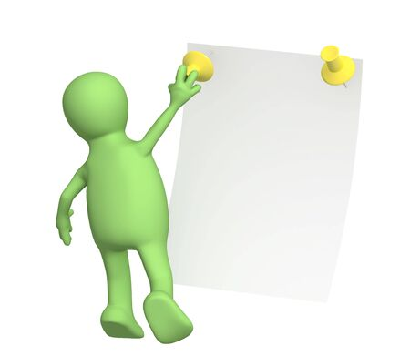 new message: New message - 3d puppet with information sheet Stock Photo