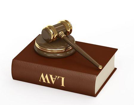 arbitrar: S�mbolo de la justicia - martillo 3d judicial. Objeto sobre blanco