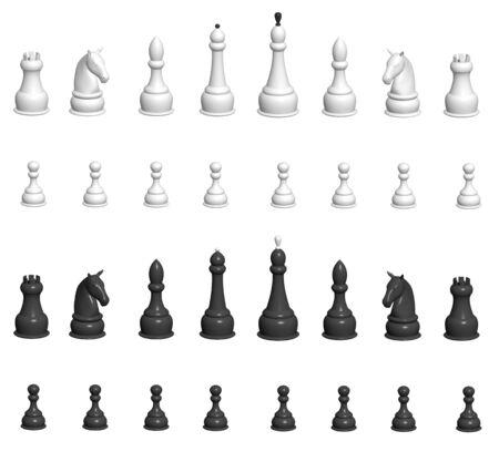 Set - 3d chess. Over white photo