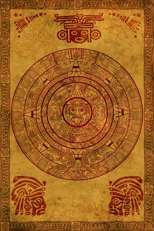 maya religion: Maya calendar on ancient parchment Stock Photo