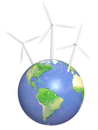 Conceptual image - wind energy. 3d Stock Photo - 6288577