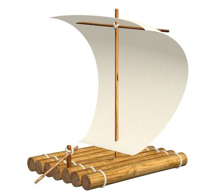 3d boat: 3d self-made wooden raft with sail from a paper Stock Photo