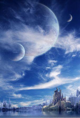 Collage - Landschaft in Fantasy Planeten Standard-Bild