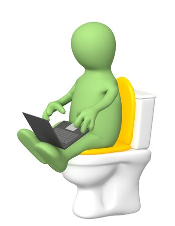 weariness: 3d puppet, sitting with a laptop on toilet bowl