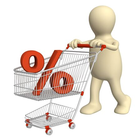 3d puppet with symbol of percentage in shopping cart Stock Photo - 6335821