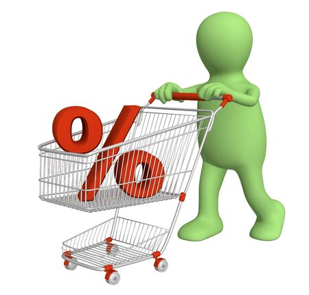 3d puppet with symbol of percentage in shopping cart Stock Photo - 6335809