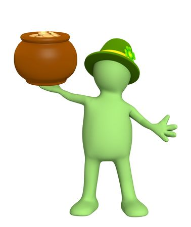 Leprechaun with pot. Isolated over white photo