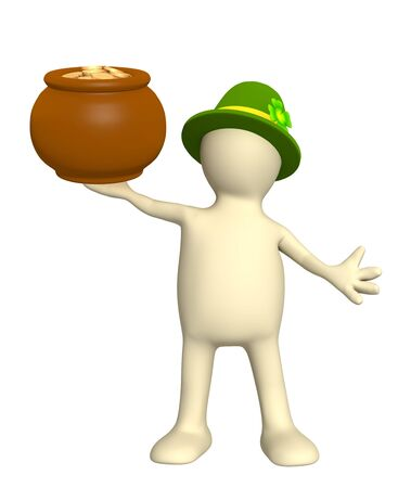 Leprechaun with pot. Isolated over white Stock Photo - 6335772
