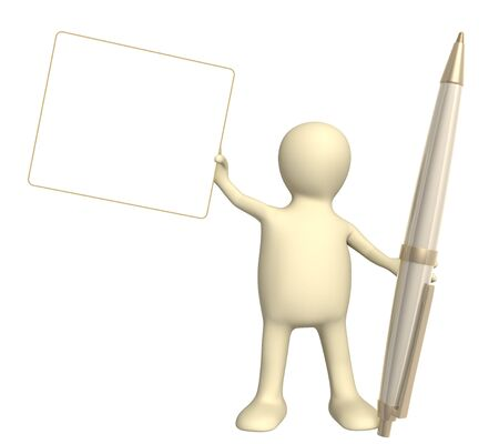 petition: 3d puppet with a pen. Object over white Stock Photo