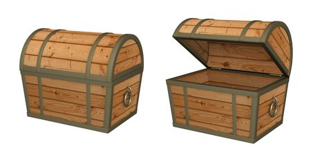 chest: 3d empty wooden box. Object over white