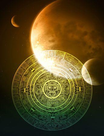 simbolos religiosos: Fondo vertical con calendario Maya