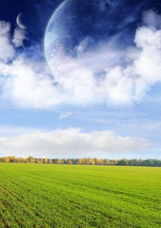 lejos: Collage - campos de un lejano planeta
